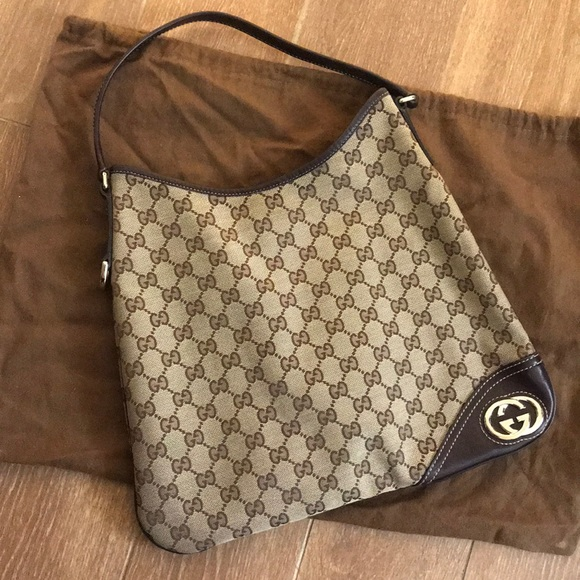 cd80ac5e0264 Gucci Bags | Monogram Canvas New Britt Hobo Shoulder Bag | Poshmark
